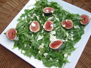 Arugula with Black Mission Figs and Macadamia Ricotta