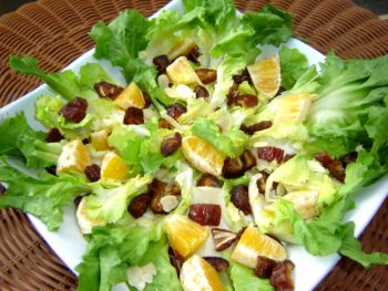 sweet escarole salad with dates and oranges