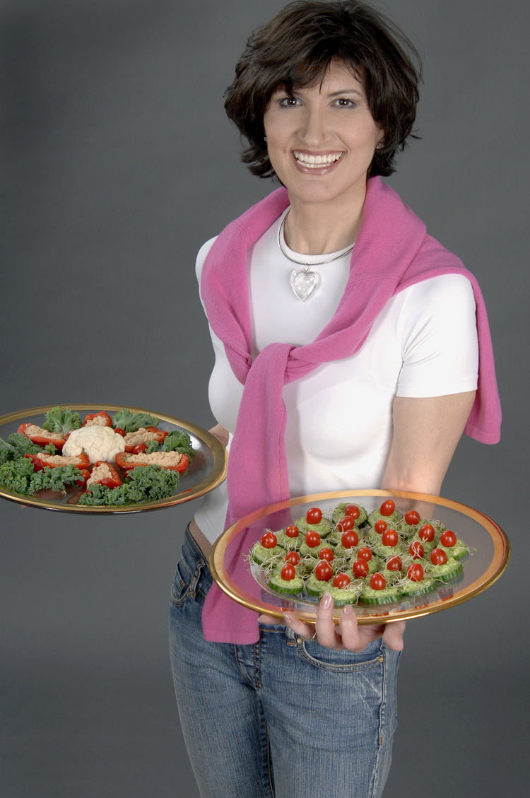 Simona Stepancic with fresh raw vegan food